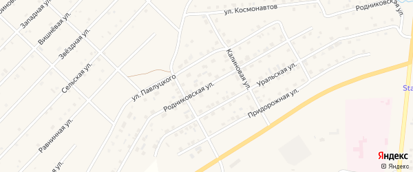 Родниковская улица на карте Миасского села с номерами домов