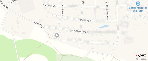 Улица Строителей на карте Миасского села с номерами домов