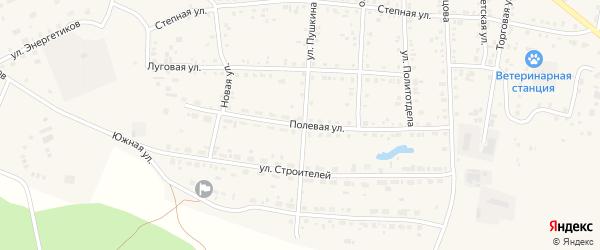 Полевая улица на карте Миасского села с номерами домов
