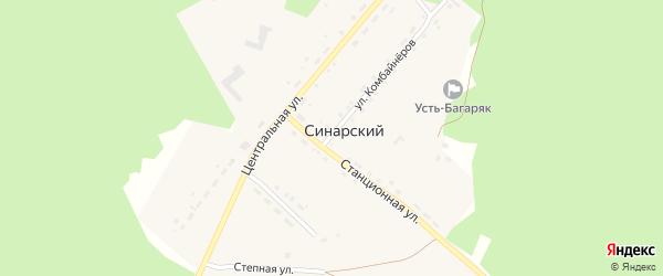 Улица Комбайнеров на карте Синарского поселка с номерами домов