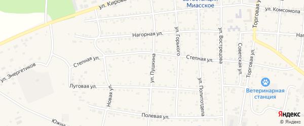 Улица Пушкина на карте Миасского села с номерами домов