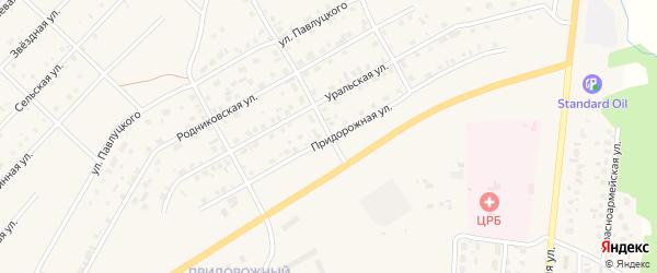 Придорожная улица на карте Миасского села с номерами домов