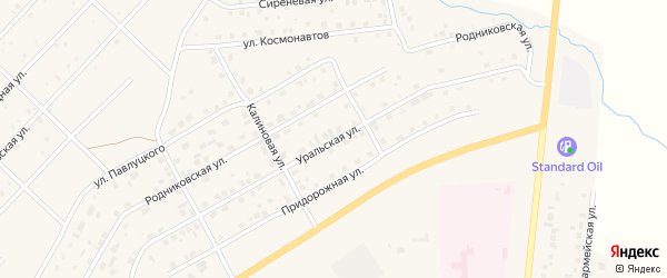 Уральская улица на карте Миасского села с номерами домов