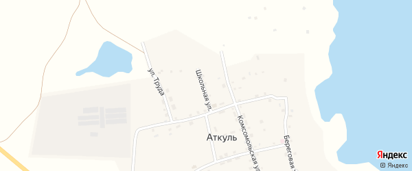 Зеленая улица на карте деревни Аткуля с номерами домов