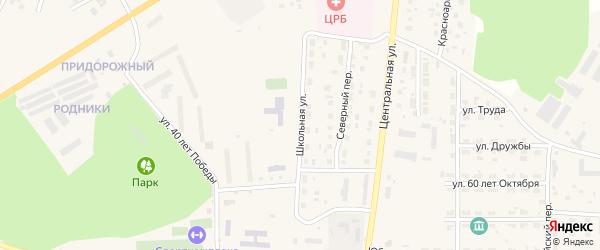 Школьная улица на карте Миасского села с номерами домов