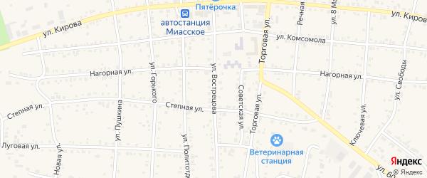 Улица Вострецова на карте Миасского села с номерами домов