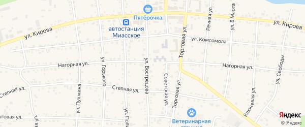 Нагорная улица на карте Миасского села с номерами домов