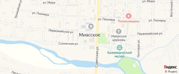 Сосновая улица на карте Миасского села с номерами домов