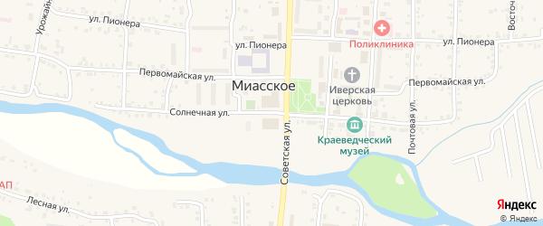 Солнечная улица на карте Миасского села с номерами домов