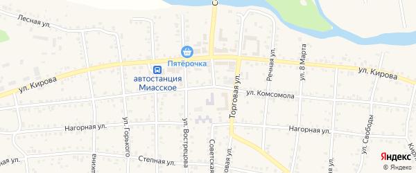 Улица Комсомола на карте Миасского села с номерами домов