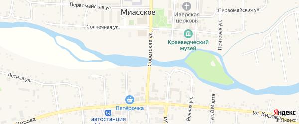 Советская улица на карте Миасского села с номерами домов