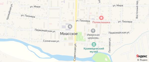 Первомайская улица на карте Миасского села с номерами домов