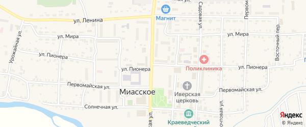 Улица Пионера на карте Миасского села с номерами домов