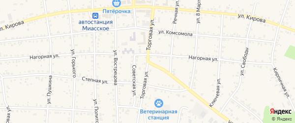 Торговая улица на карте Миасского села с номерами домов
