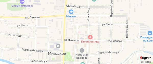 Спортивная улица на карте Миасского села с номерами домов