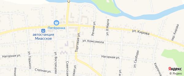 Речная улица на карте Миасского села с номерами домов