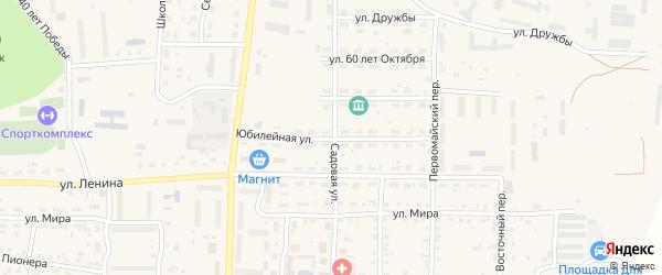 Юбилейная улица на карте Миасского села с номерами домов