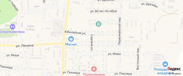 Садовая улица на карте Миасского села с номерами домов