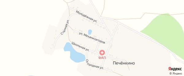 Улица Механизаторов на карте деревни Печенкино с номерами домов
