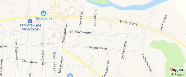 Улица 8 Марта на карте Миасского села с номерами домов
