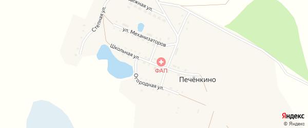 Школьная улица на карте деревни Печенкино с номерами домов