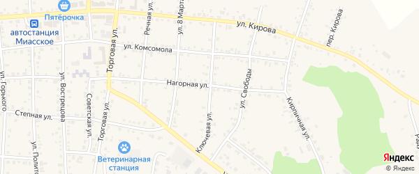 Ключевая улица на карте Миасского села с номерами домов