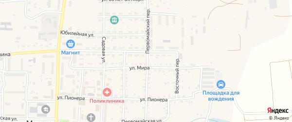 Первомайский переулок на карте Миасского села с номерами домов