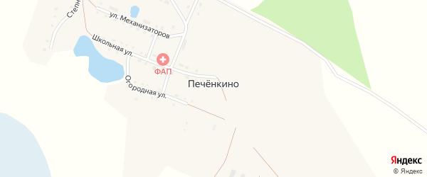 Дорожный переулок на карте деревни Печенкино с номерами домов