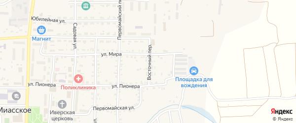 Восточный переулок на карте Миасского села с номерами домов