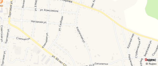 Кирпичная улица на карте Миасского села с номерами домов