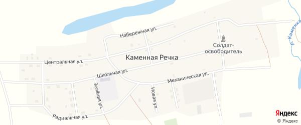 Зеленая улица на карте поселка Каменной Речки с номерами домов