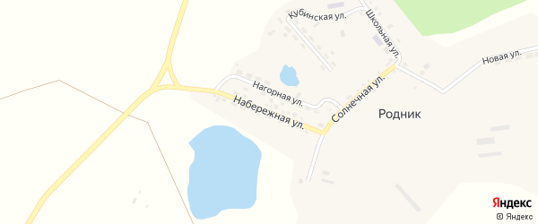 Набережная улица на карте поселка Родника с номерами домов