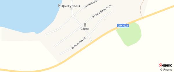 Дорожная улица на карте поселка Каракульки с номерами домов