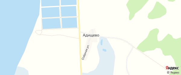 Карта деревни Адищево в Челябинской области с улицами и номерами домов
