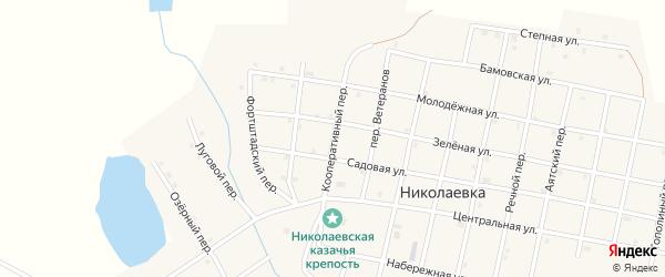 Кооперативный переулок на карте села Николаевки с номерами домов