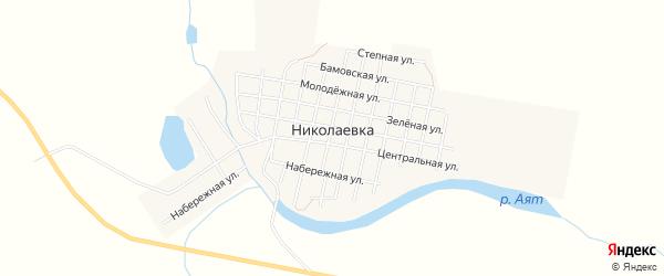 Карта села Николаевки в Челябинской области с улицами и номерами домов