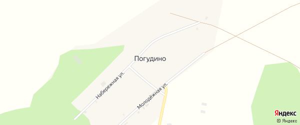 Набережная улица на карте деревни Погудино с номерами домов