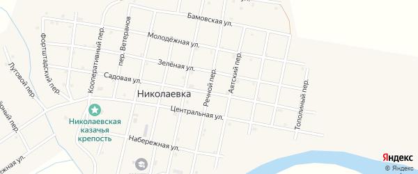 Речной переулок на карте села Николаевки с номерами домов