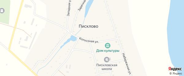 Западная улица на карте села Писклово с номерами домов