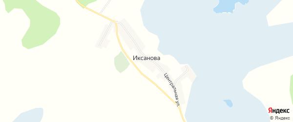 Карта деревни Иксанова в Челябинской области с улицами и номерами домов