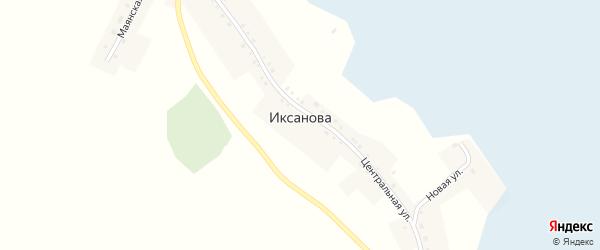 Центральная улица на карте деревни Иксанова с номерами домов