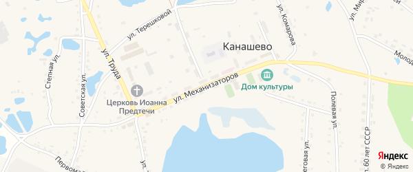 Улица Механизаторов на карте села Канашево с номерами домов