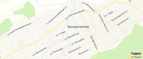 Карта села Бродокалмака в Челябинской области с улицами и номерами домов