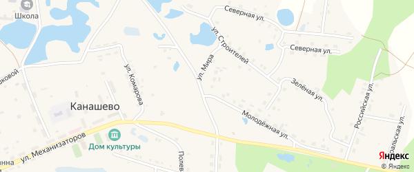 Улица Мира на карте села Канашево с номерами домов