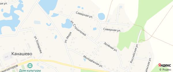 Улица Строителей на карте села Канашево с номерами домов
