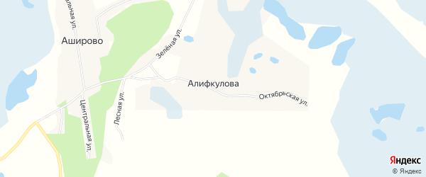 Карта деревни Алифкулова в Челябинской области с улицами и номерами домов