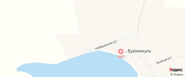 Набережная улица на карте деревни Бурханкуля с номерами домов