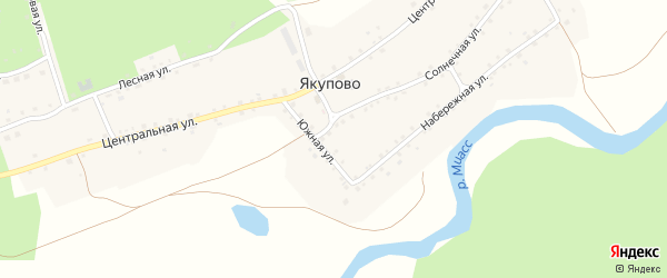 Береговая улица на карте деревни Якупово с номерами домов