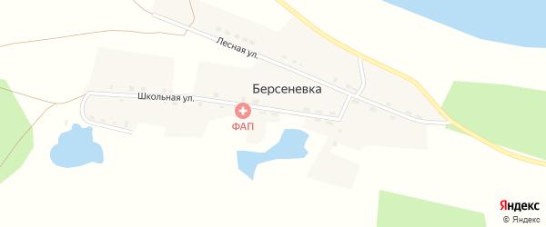 Школьная улица на карте деревни Берсеневки с номерами домов