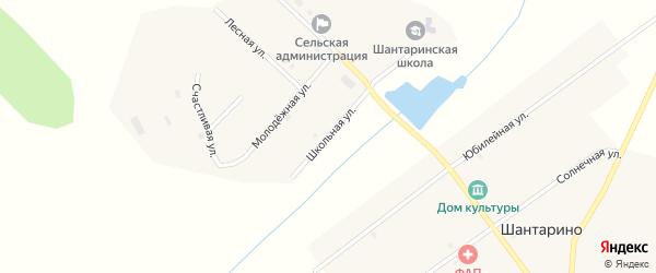 Школьная улица на карте поселка Шантарино с номерами домов
